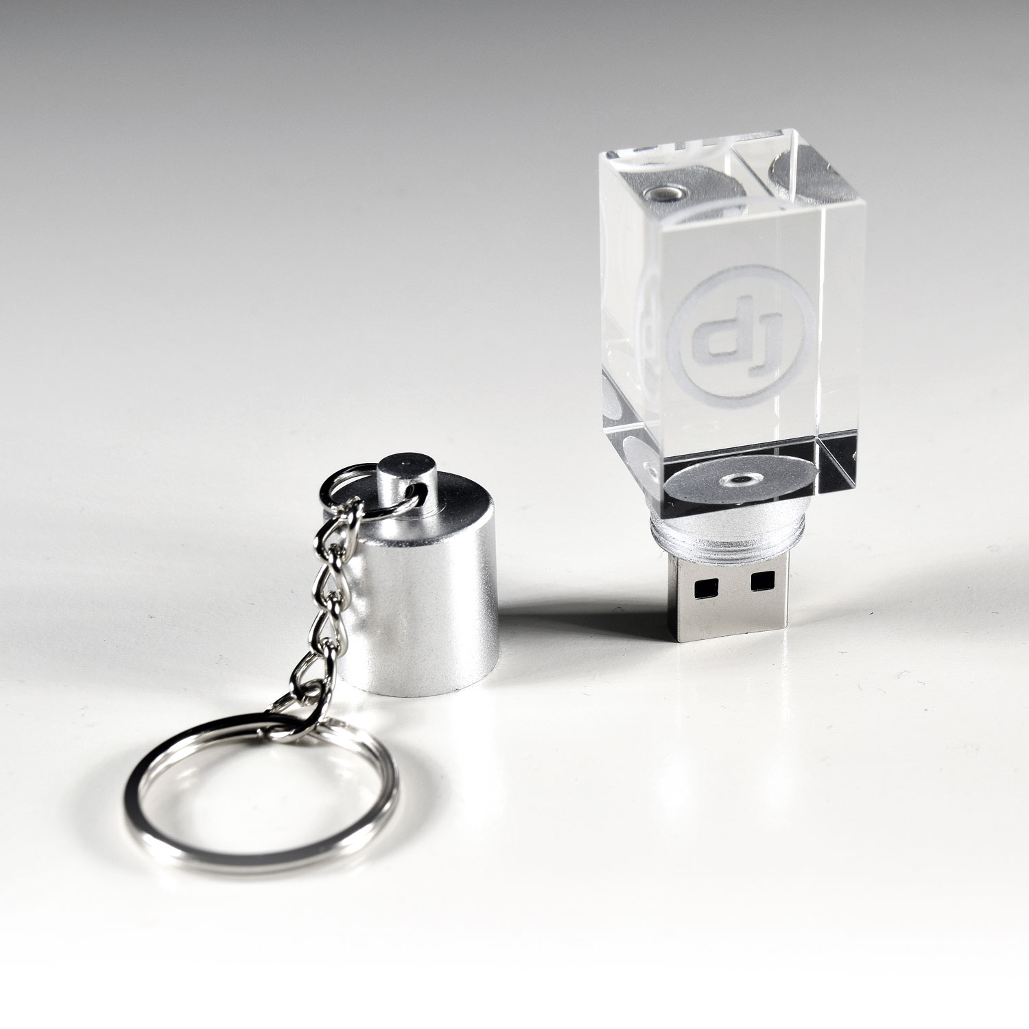 Premium Crystal DJ Stick Cube - USB 2.0 Flash Drive - blue LED